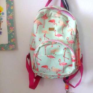 Turqoise Pink Flamingo Mini Backpack