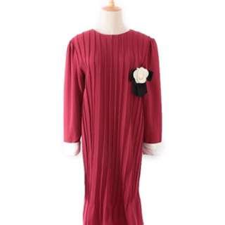 日本 古著 Vintage 紅色百褶連身洋裝