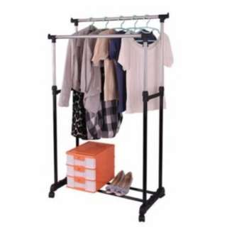 Laundry Double Pole Telescopic Clothes Rack