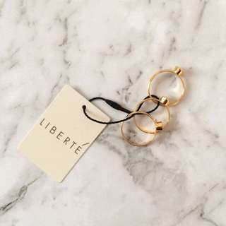 Liberte Gold Crystal Set of Rings Size 7 (Small) RRP $49.95