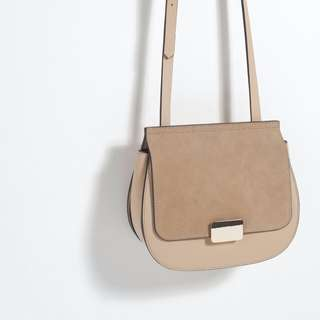 ZARA – BEIGE NUDE SADDLE CROSSBODY BAG (WORN ONCE)