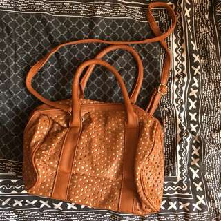 cotton on cut out patterned tan pleather handbag