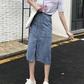 復古開衩設計款高腰顯瘦牛仔裙