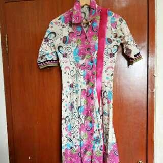 Dress batik free belt pita