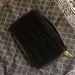 zebra printed soft/furry clutch/travel wallet