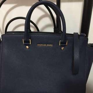 MK navy blue purse ( Selma  Saffiano Leather Satchel)