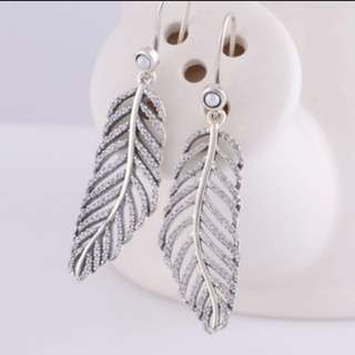 pandora feather earrings