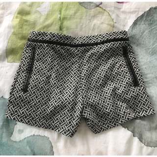 Black and white woven patterned shorts