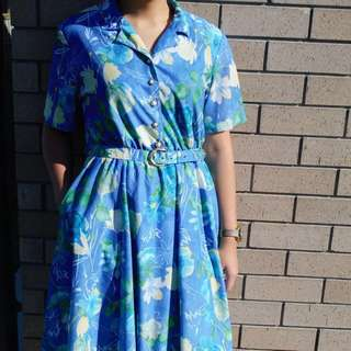 Vintage Dress Blue With Flowers