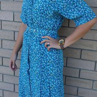 Vintage Dress- Blue Mid Length
