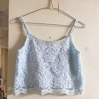 Baby blue lace 吊帶背心H&M
