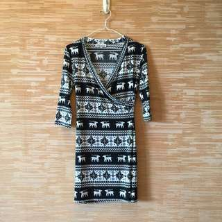 Brand new black and white reindeer wrap dress
