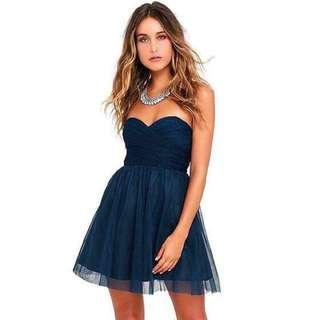 美國Lulus 寶藍低胸薄紗連身裙