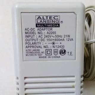 Adaptor Altec Lansing - Model No: A2265