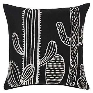 Cactus embroidered cushion