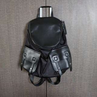 Imported Leather & Nylon Backpack