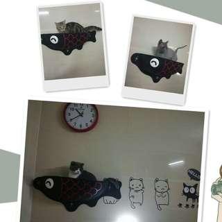 ¥小柴寶貝¥魚形半圓貓窩瓷磚挂床