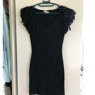 Black tight t-shirt dress with groovy sleeves