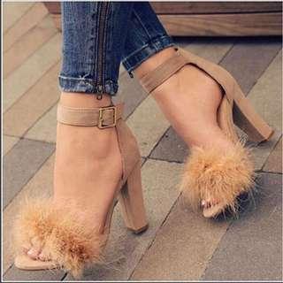 麂皮絨毛高跟鞋 Suede Fur Heels
