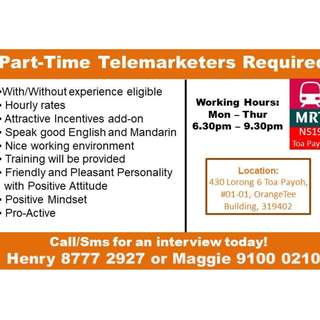 ADV- Start Nw. P/T Tele Marketers Needed. 8777 2927 Henry