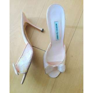 Manolo Blahnik Authentic Hangisi Lace and Satin Mules