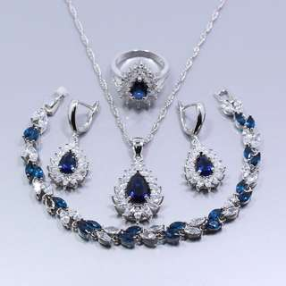 925 Silver Luxury Cubic Zirconia stone drop Diamond Jewelry Set ( Earrings / Necklace / Ring / bracelet )