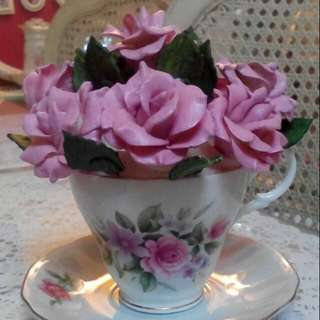 Handmade Porcelain Rose Bouquet in Cup