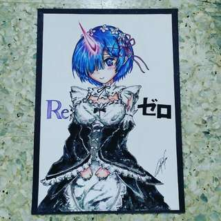 Anime art prints - Rem from Re Zero (traditional art)