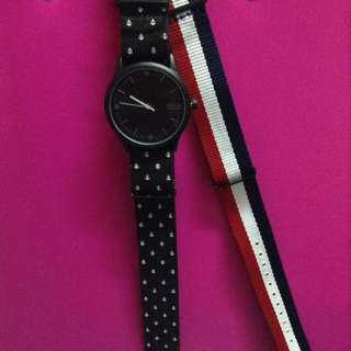 Brand new w/ box Nautical Printed Duo Canvas Strap Watch Set