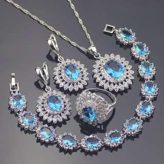 925 Sterlings Silver Cubic Zircon Stone / Diamonds Jewelry set ( Earrings / Bracelet / Earrings / Ring )