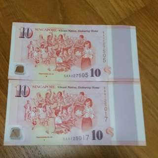 SG50 Commemorative Note Prefix AA *** OPPORTUNITIES FOR ALL  ***