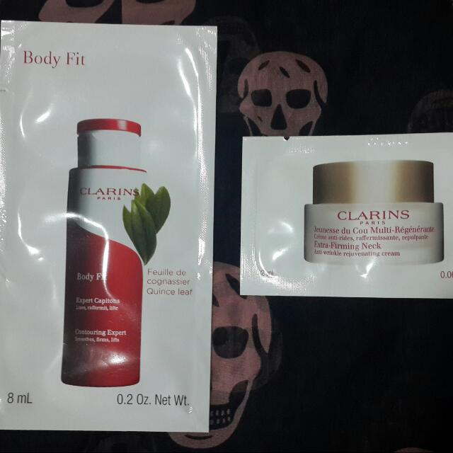 1. Clarins Body Fit Contouring Expert (8 ml) 2. Clarins Extra-Firming Neck (2 ml)