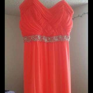 Long bright orange dress size 11