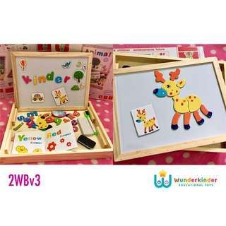 2-sided Learning Writing Board w/ Magnetic Puzzle & Alphabets