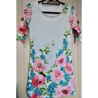 3/4 Sleeves Floral Dress