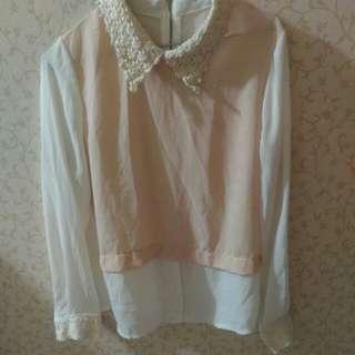 粉色 雪紡 假兩件 半透明 上衣