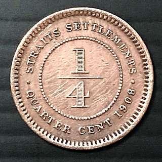 1908 Straits Settlements Quarter Cent / 1/4 Cent Coin