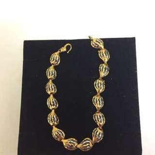 Gold & White Gold Plated Leaves Shapes Bracelet
