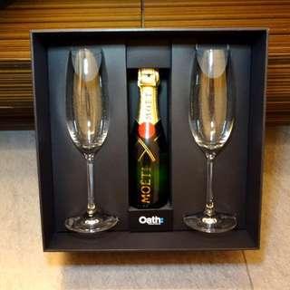 全新Mini Moët連水晶香檳杯一對