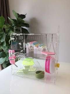 2-Tier Transparent Acrylic Hamster House Condo Villa Cage with Accessories