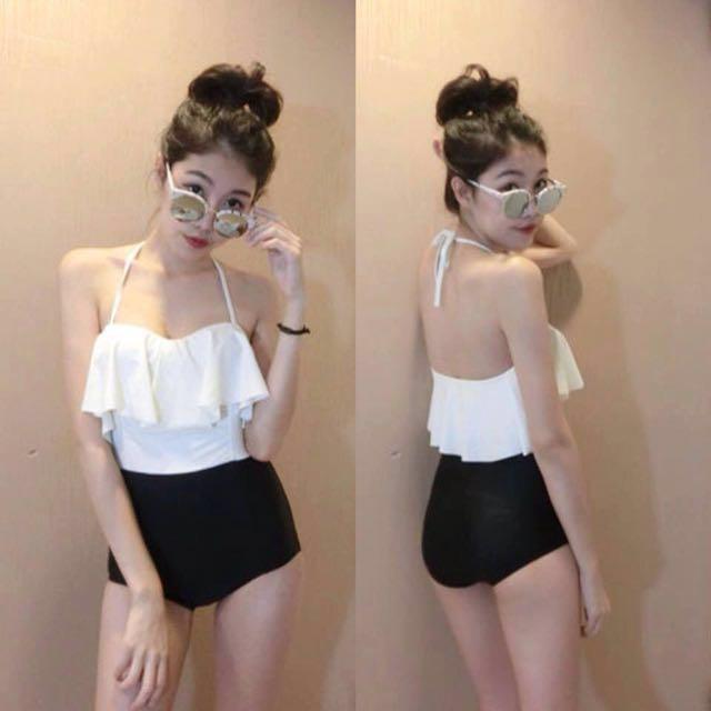 韓國蝴蝶結黑白連身泳衣