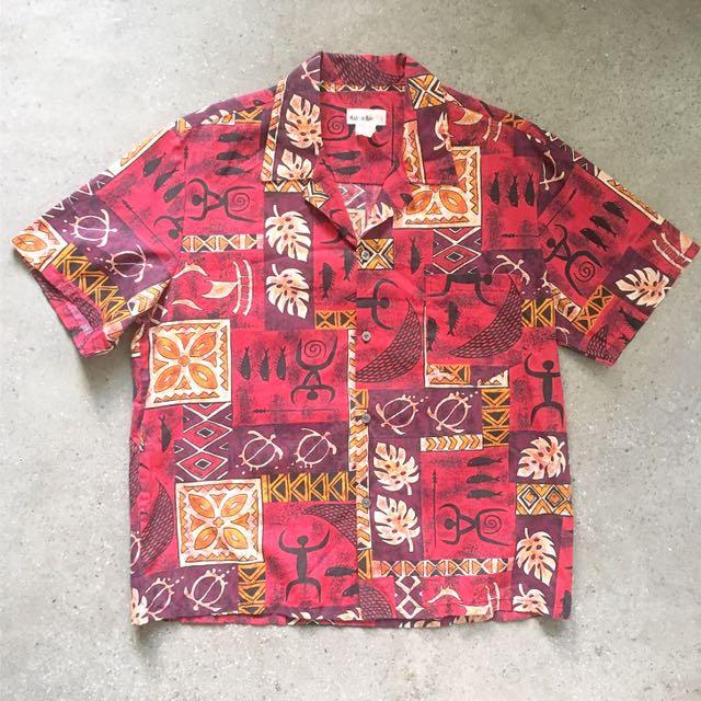 顛復古⚡️復古夏威夷製朱紅印地安人型圖騰短袖襯衫❤️男女皆可