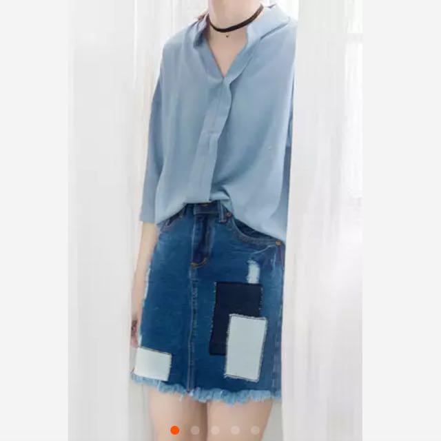 全新 韓版 七分袖襯衫 雪紡