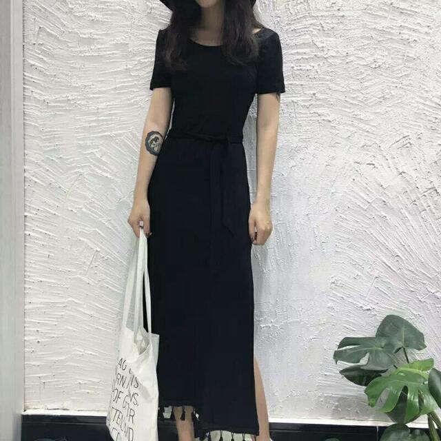 🎀現貨 黑色  韓版美背洋後綁帶開叉性感洋裝(一件現貨)便宜售出