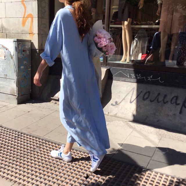 降價!韓版 美背長洋裝顯瘦藍色 長襯衫 秋冬