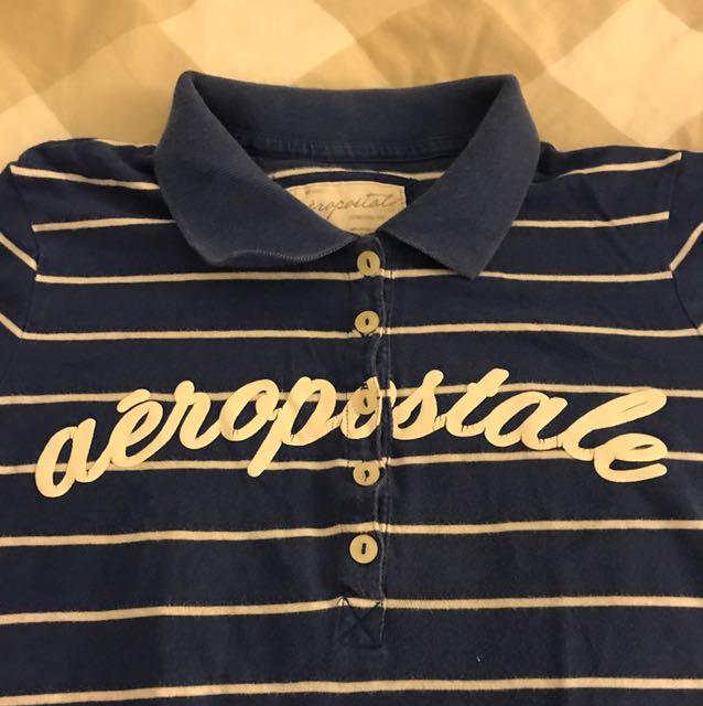 Aeropostale blue and white stripe polo t