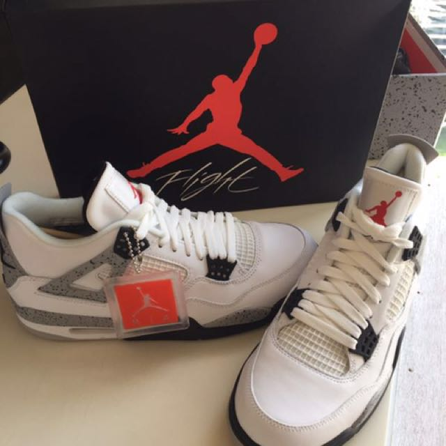 "a1f14b28a0e4 Air Jordan 4 Retro OG ""CEMENT"" Men s Shoes White Fire Red Black Tech ..."