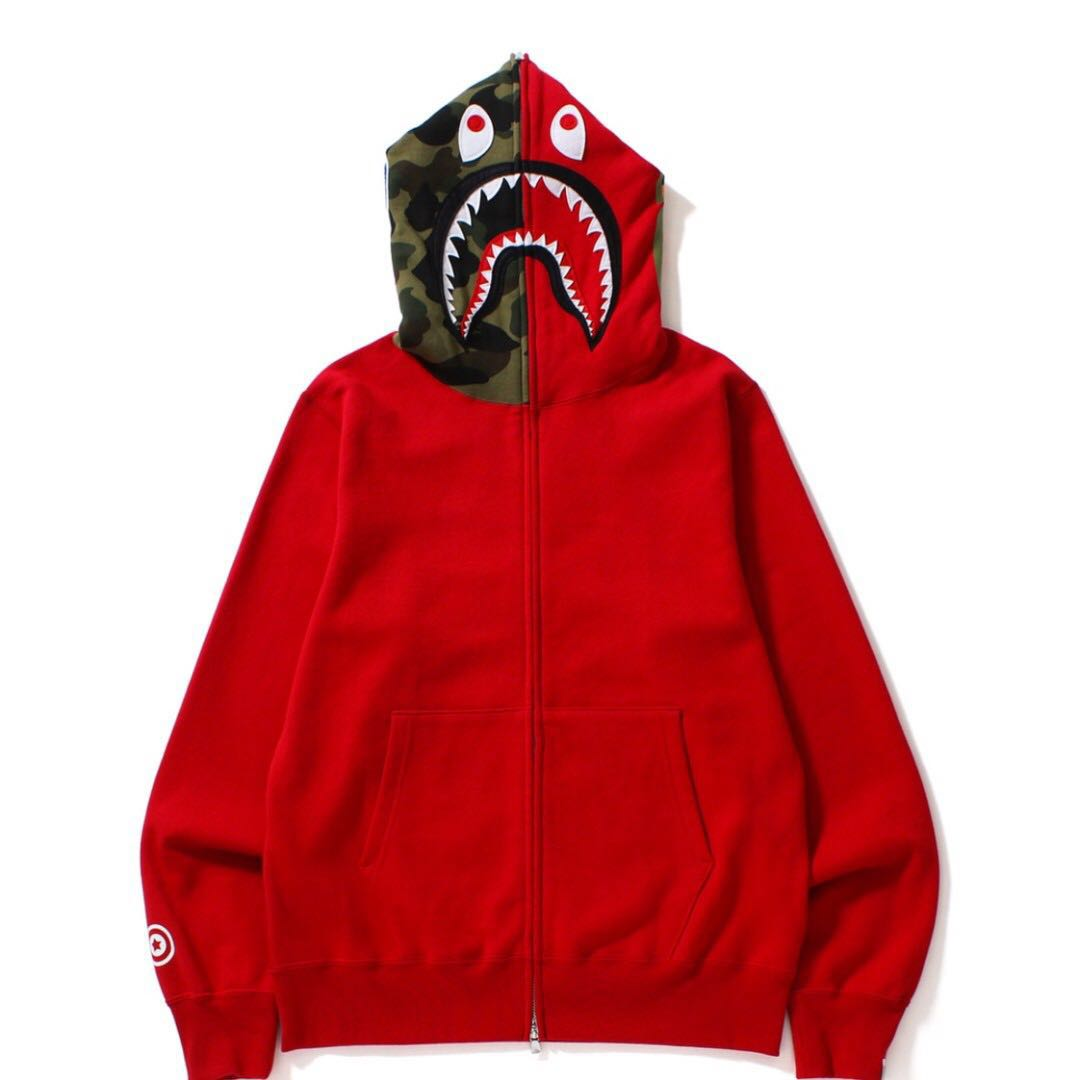BAPE SHARK FULL ZIP HOODIE RED Mens Fashion Clothes On Carousell