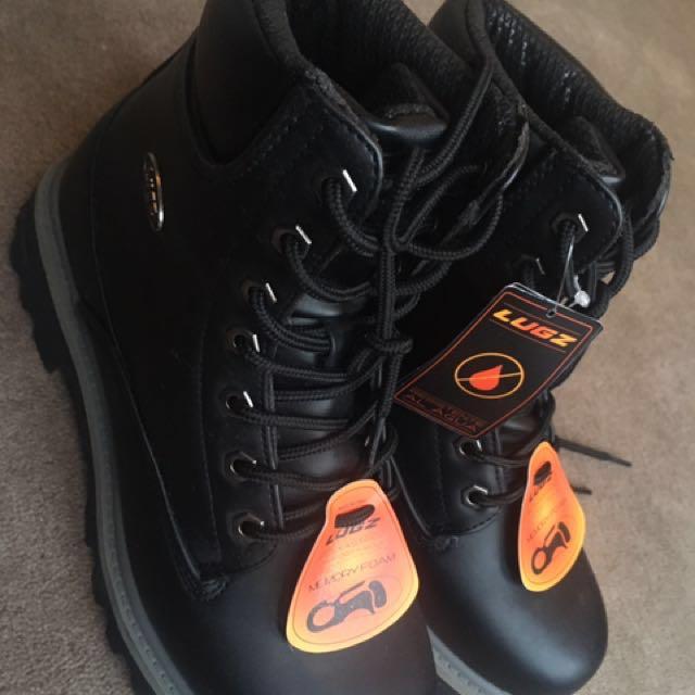 Black leather combat boots size 7 US Mens