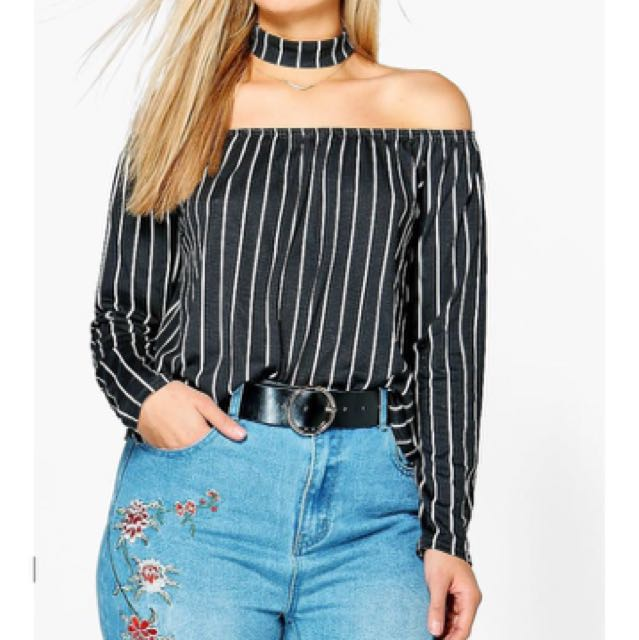 Boohoo Plus Off The Shoulder Striped Shirt